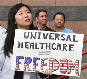 Universal Healthcare Equals Freedom sign